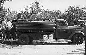 The original Engine 2 was a tank truck which was purchased from the U.S. Treasury Department and rebuilt by Fire Company members from whatever parts and materials they could come by during the war.